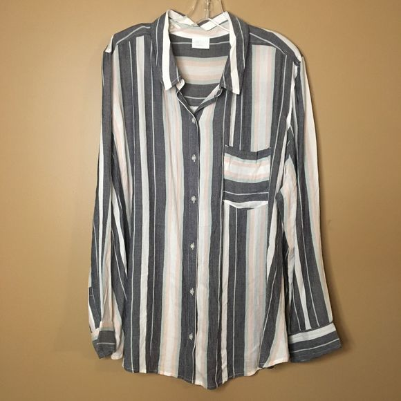 Abound Button Down stripped Multi Color Shirt 2X